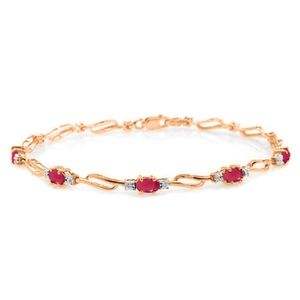 SOLID GOLD TENNIS BRACELET WITH RUBIES & DIAMONDS
